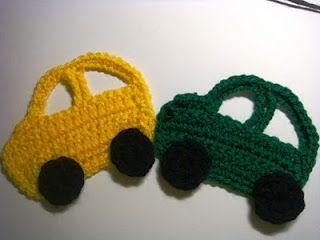 Crochet car applique for a boy car blanket.  Free!