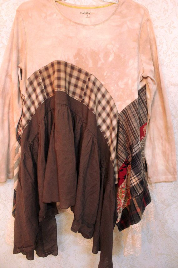 REVIVAL Women's Upcycled Boho Shirt Shabby Chic Country by REVIVAL