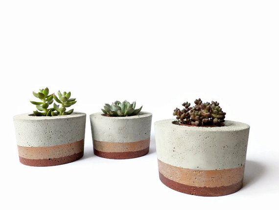Set of 3 Round Concrete Pot for Succulent Home Decor by BetonDeko