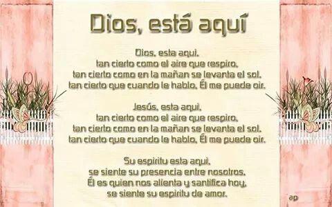 Ana Montoya... DIOS está aqui, tan cierto como el aire que respiro...Amen...