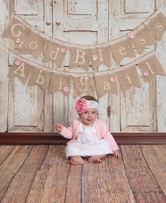The perfect banner to celebrate such an important day in your little ones life. Each burlap flag is 6 inches wide, 8 inches long with lace trim along