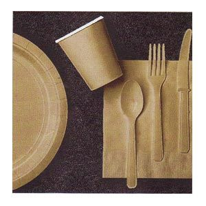Gold Paper Tableware (4 items)