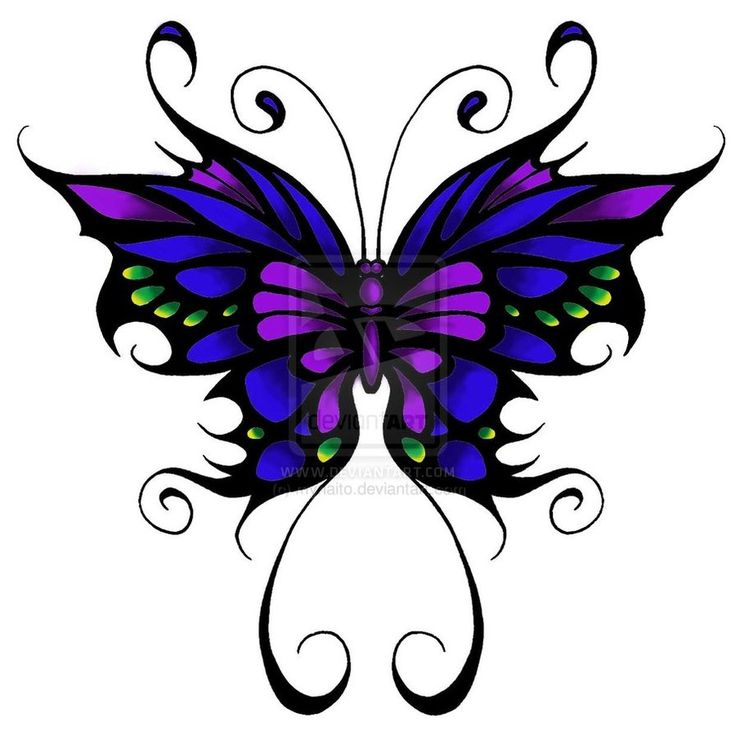 Butterfly Tattoo: Blue, purple, and green w/ black outline