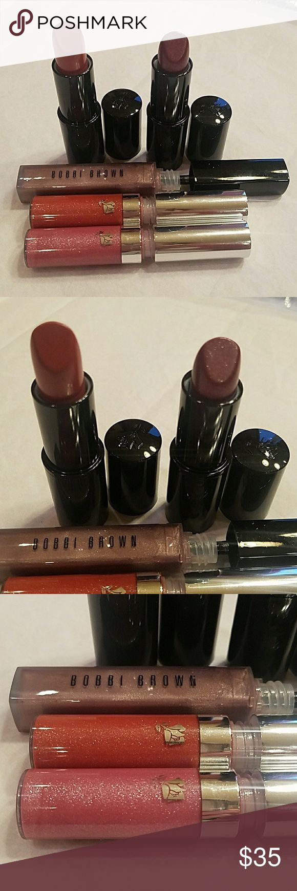 X5 lippies BUNDLE (new) Color design in sugared Maple and fashion icon Lancome Lip gloss in 351 Lilly en lame Lancome Lip gloss in 272 gem 'n' glam Bobbi Brown lip gloss in Black Pearl 49 All new and AUTHENTIC Selling as is! ASK QUESTIONS BEFORE purchasing! Makeup Lip Balm & Gloss