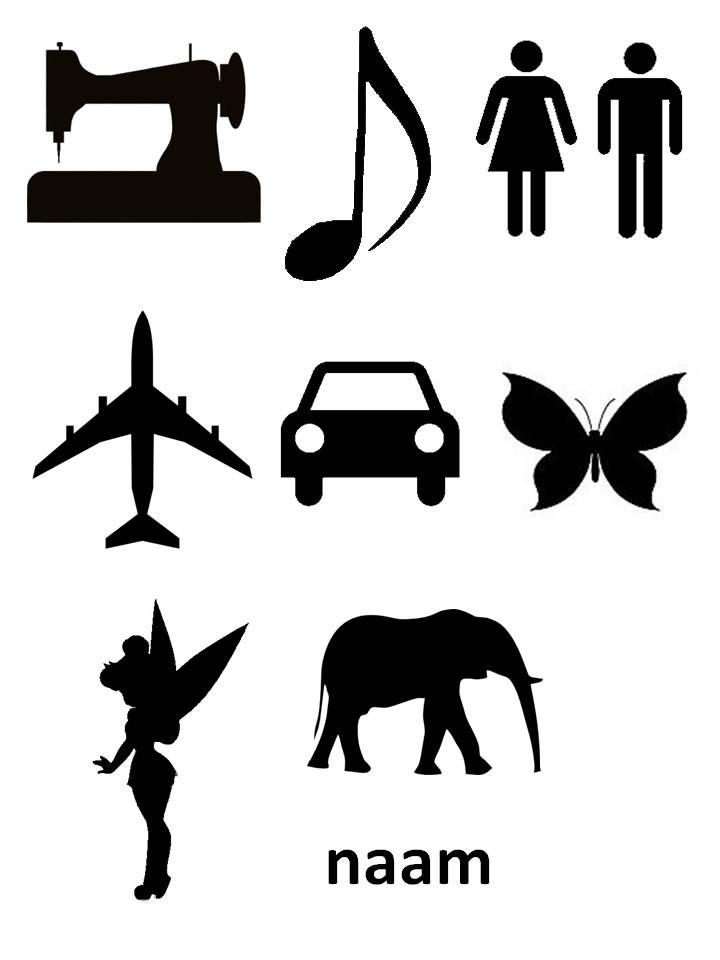 naaimachine - muzieknoot - man vrouw - vliegtuig - auto - vlinder - tinkerbell - olifant