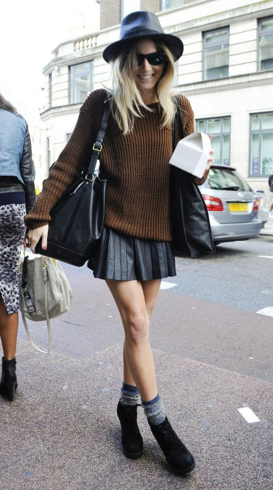 hat, brown knit, pleated leather skirt & boots #style #fashion #fashionmenow