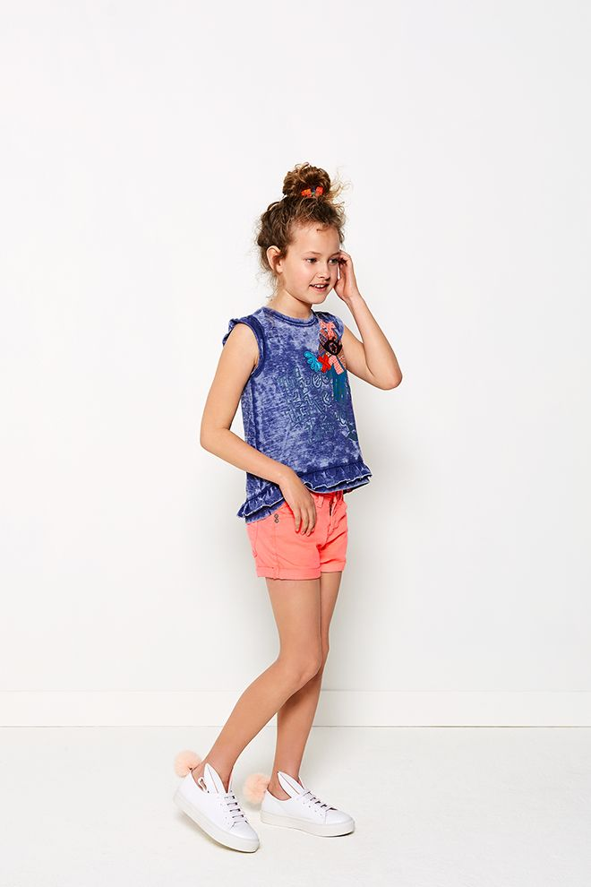 High Summer - Girls   Fashion   Photography   Short   Organe   Top   Blue   Print   Colorful   Inspired