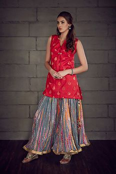 Raw silk kurta with shibori flare pants by #Benzer #Benzerworld #IndoWestern #Kurti #Pants