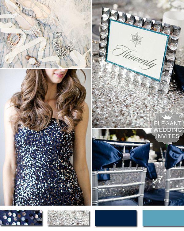 trending metallic navy blue and silver winter wedding ideas #elegantweddinginvites