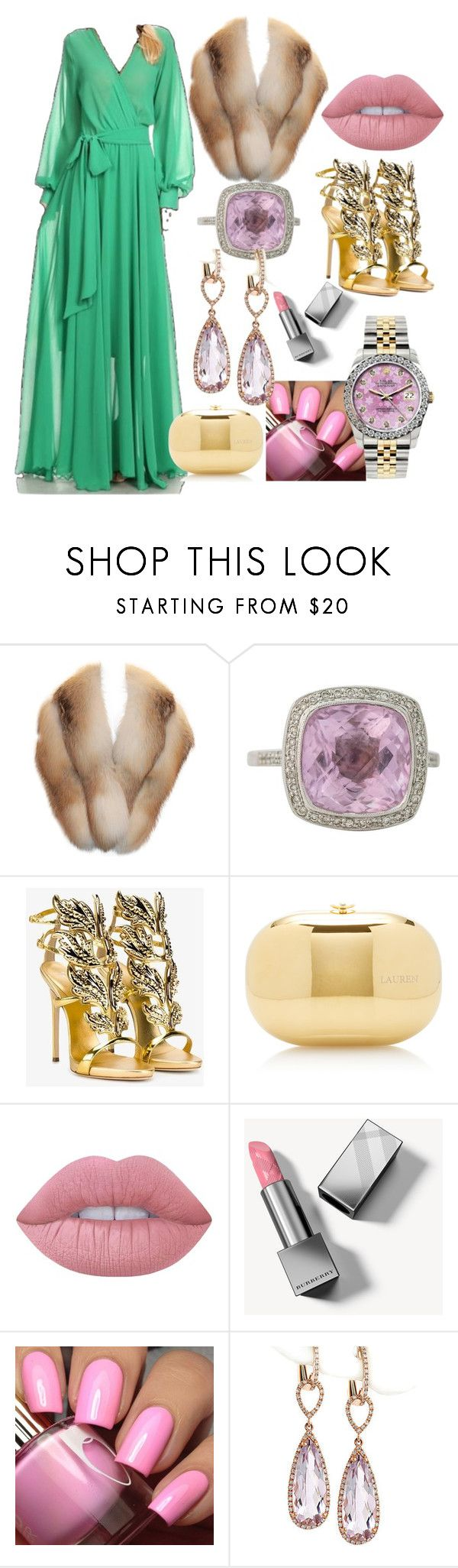 """Green Gold and Stoles"" by cagreinvented on Polyvore featuring Giuseppe Zanotti, Jeffrey Levinson, Lime Crime, Burberry and Rolex"