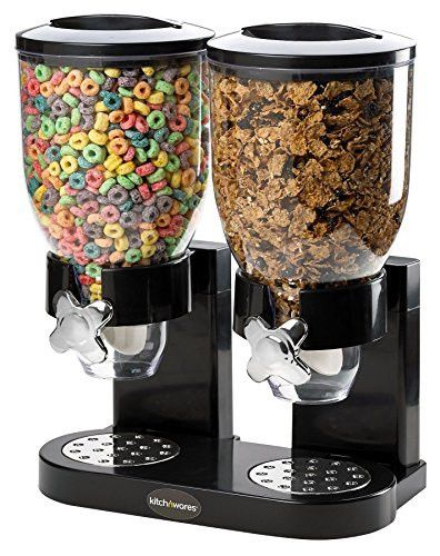 Double Chamber Airtight Cereal And Dry Food Dispenser With Built In Spill Tray For Home, Kitchen, Countertops, Breakfast, Pets, Cat Food, Dog Food, Candy, Pantry, And Meals By, Kitch N' Wares