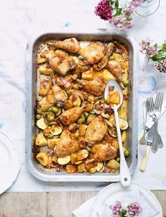 Mary Berry's Mediterranean All-In-One-Chicken. A great way to feed the family - or something to cook for your mum on Mother's Day.