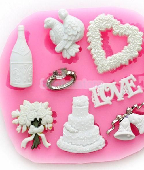 Wedding Silicone Mold Icing Fondant Cake Cookie Chocolate Mould Decor Tool