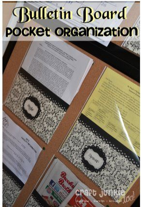 Bulletin Board Pocket Organization using heavy duty page protectors and scrapbook paper