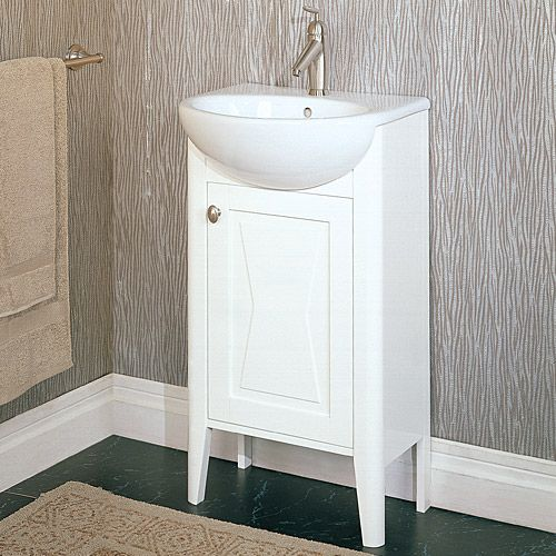 This vanity is only about half as wide as the sink, allowing a wider walking path and helping the whole bathroom seem just a bit wider. Description from steamshowersinc.com. I searched for this on bing.com/images