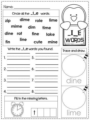 (FREEBIE) CVCe Word Family Printables Long vowels (phonics) long i words