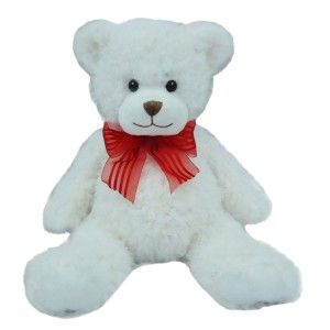 "First & Main Sitting Position Stuffed White Bear Valentine's Plush, 20"""