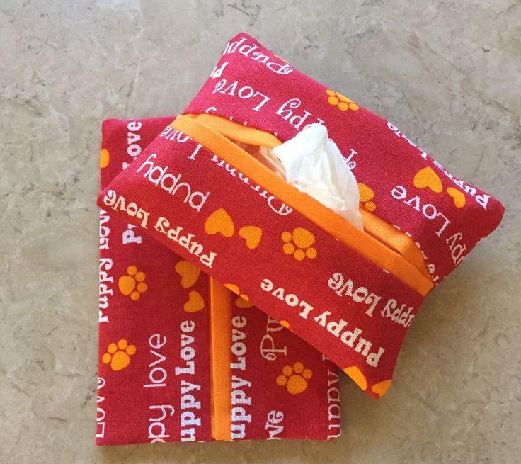 Puppy Love Fabric Purse or Pocket Kleenex Tissue Holders, Handmade,Ready To Ship  | eBay