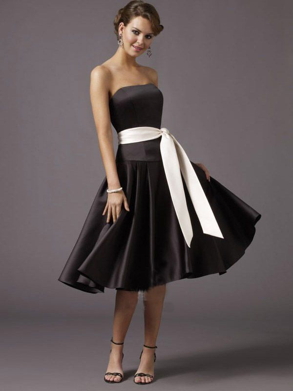 Black Bridesmaid Dresses With White Sash