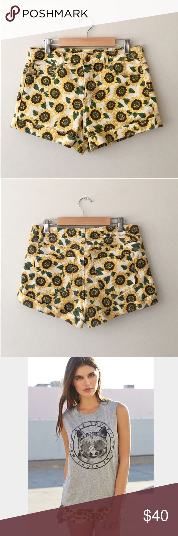 Forever 21 Sunflower Print Cuffed Denim Shorts Beautiful Cuffed Denim shorts in sunflower print by Forever 21. Size Small. Excellent condition. Forever 21 Shorts