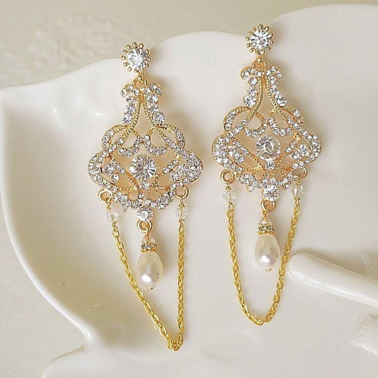 THEIA Art Deco Gold Chandelier Earrings Great Gatsby Bridal Statement Earrings