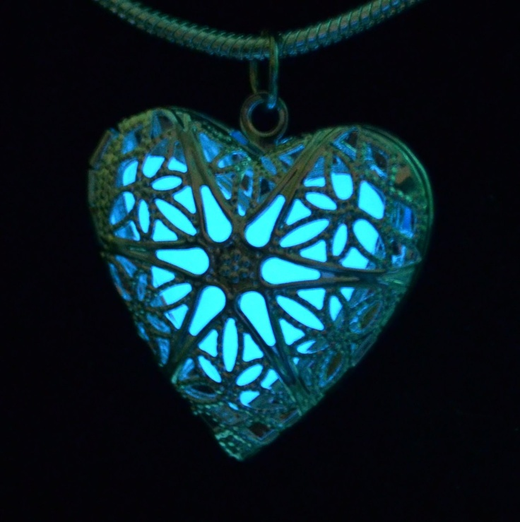 """Glow necklace True Blue Heart Glow Silver Filigree Heart Locket Pendant"""