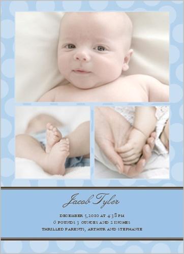 Just Dotty Blue Birth Announcement - shutter fly