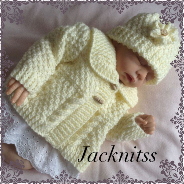 Cream Aran Cardigan and a Hat Set to fit Baby Girl 0 to 3 months