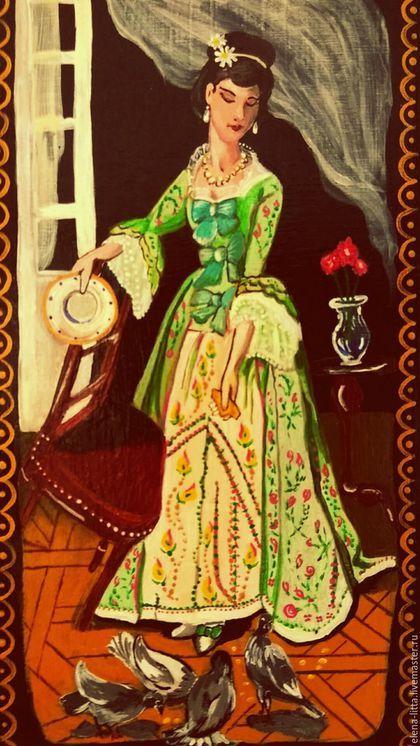 Купить или заказать Шкатулка-купюрница 'Крошки' в интернет-магазине на Ярмарке Мастеров. Расписная шкатулка-купюрница 'Крошки' выполнена акриловыми красками в технике лаковой миниатюр по мотивам картины Жозефа Каро. Очаровательный женский образ, летняя веранда, доверчивые голуби радостно воркуют у ног хозяйки дома, белый фарфор и легкая кисея раздуваемой ветром занавески. Шкатулка будет долго радовать свою хозяйку.