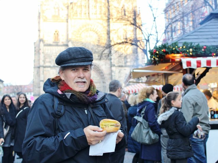 Tony with a Nuremberg Bratwurst burger