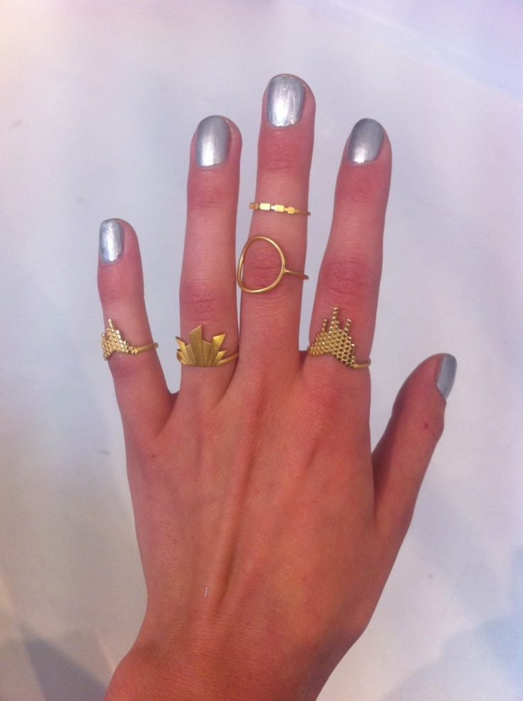 silver and gold - edgy Maria Black rings
