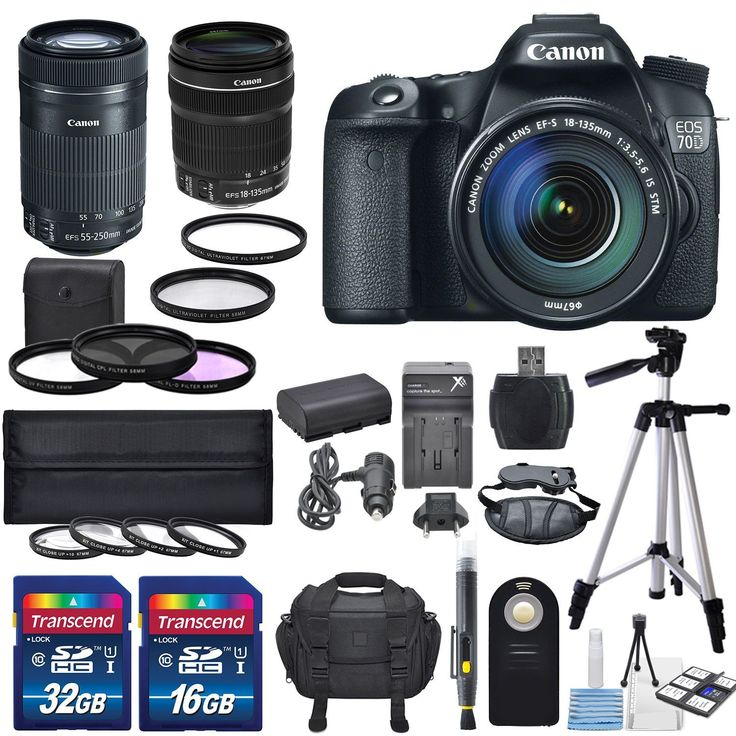 Canon EOS 70D 20.2MP SLR Digital Camera & Canon 18-135mm f/3.5-5.6 STM Lens & EF-S 55-250mm f/4-5.6 IS STM +4pc HD Macro CU Filter Kit 67mm +3Pc. 58mm Digital Filter Set +Total of 48GB +Deluxe Bundle. The EOS 70D features Canon's all-new Dual Pixel CMOS AF, a revolutionary leap forward in speed and accuracy that unlocks the potential of Live View shooting. This game-changing technology will forever change what is possible with a DSLR camera. This Canon EOS 70D kit is paired with Canon...