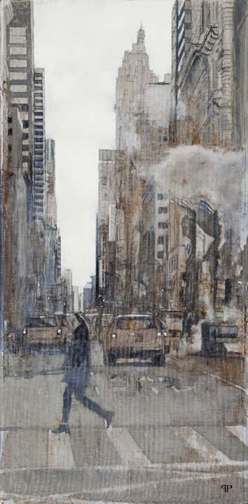 "Patrick Pietropoli, New York 5th Avenue III, 2013, Oil on Linen, 40"" x 20"" #art #newyork #axelle"