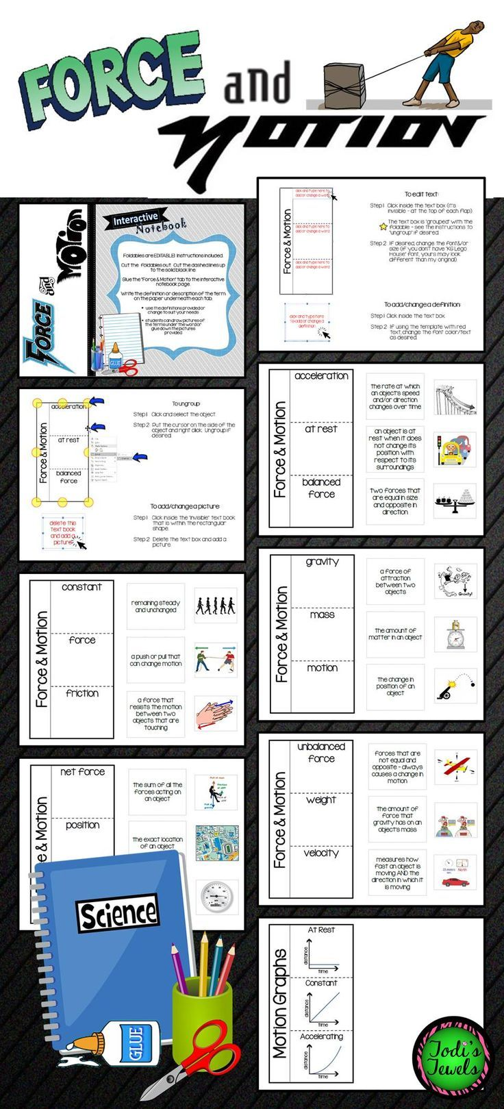 EDITABLE! Enrich your Force & Motion unit with these fun foldables! Students will complete the foldables according to the instructions provided and define/illustrate each term. Definitions and images are provided, or you may edit to fit your needs. Fantastic for upper elementary through junior high! This activity could be used as part of a lab station as well.