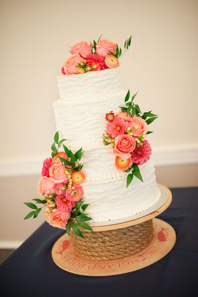 Buttercream texture frosted wedding cake with real flowers, done by the mother of the bride! Coral & Navy Vintage Inspired Nautical Wedding At The Ribault Club Jacksonville Florida | Photograph by Britney Kay Photography   http://storyboardwedding.com/vintage-nautical-wedding-ribault-club-jacksonville-florida