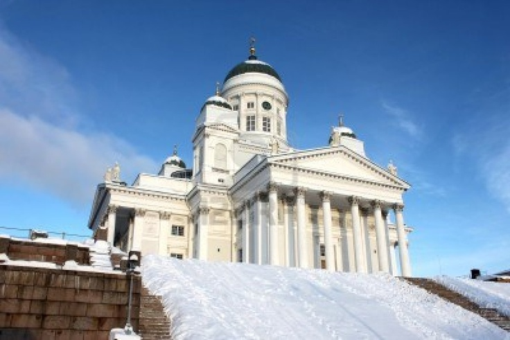 Heilige en wit tuomiokirkko in Helsinki Stockfoto