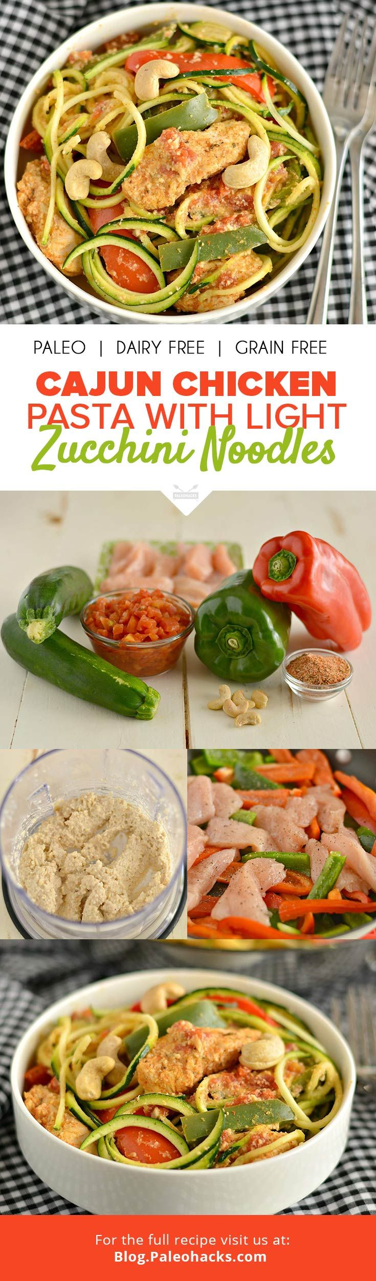 This 20-minute Cajun Chicken Pasta with Light Zucchini Noodles is guaranteed to satisfy any spicy craving! Get the recipe here: http://paleo.co/cajunchuckpasta