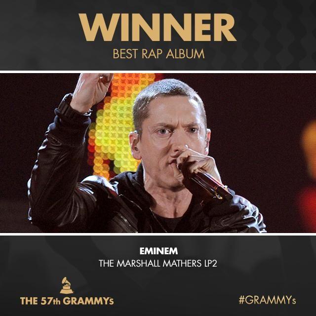 Congrats Best Rap Album 'The Marshall Mathers LP2' - @Eminem #GRAMMYs Embedded image permalink