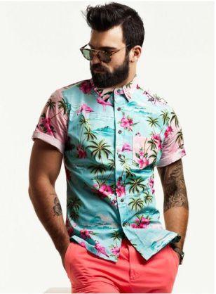 Man with Beard and Hawaiian Shirt