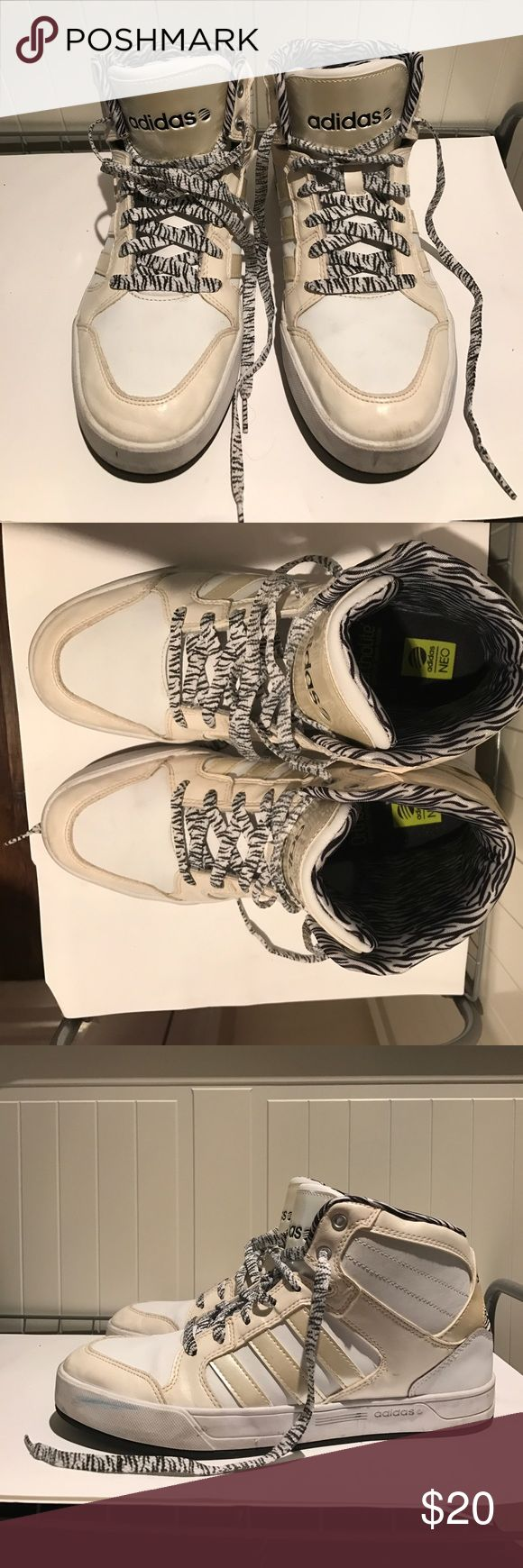 Women's Adidas Neo White Used Adidas Neo color white, animal print design shoe laces. Good condition, little dirty. Only used about 10 times. Women's size 9.Ortholite comfort foam insole. Adidas Shoes Sneakers