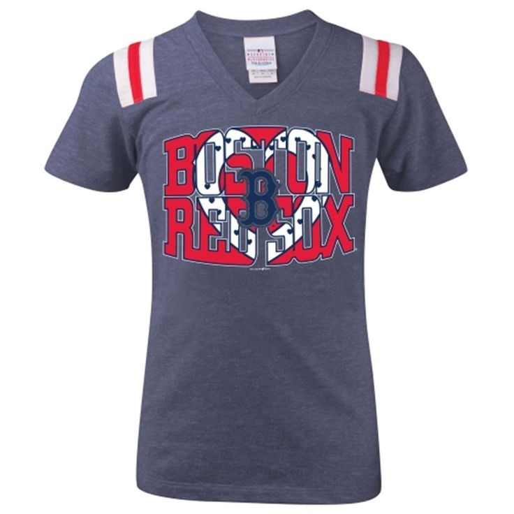 Ocean by New Era Boston Red Sox Girls Youth Navy Blue Jersey Tri-Blend  V-Neck with Stripes T-Shirt