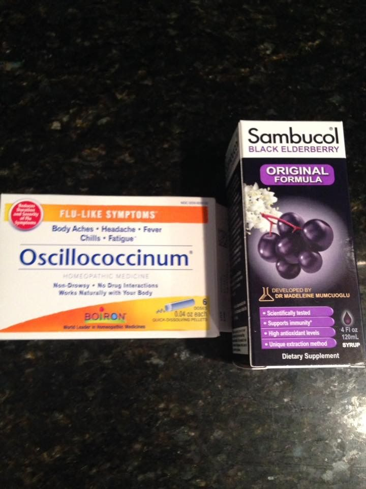 A nurse friend taught me this. If you have the Flu go to Walgreens and get these two items. The Sambucol comes in liquid or pill. The Oscillococcinum dosage is a small vial of tiny dots that melt on your tongue and taste like sweet tarts. In 48 hours you will feel better. In 72 hours you will be almost symptom-free. The last two times I had the flu I did not take the Tamiflu prescription I only took this.