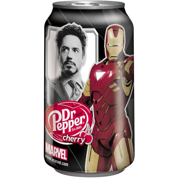 DR PEPPER AND STAN LEE SALUTE IRON MAN 2 IN NEW CAMPAIGN ❤ liked on Polyvore featuring food, drinks, avengers, filler and 51. food/snacks/drinks.