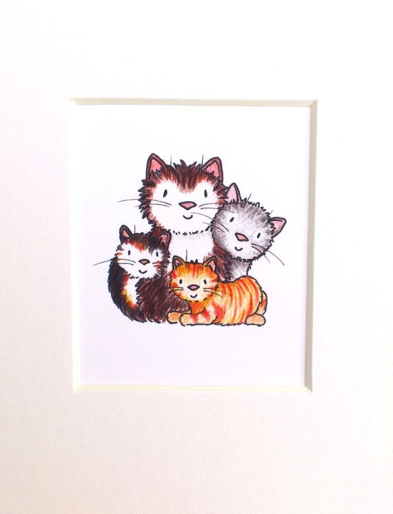 Cat family print miniature cat picture ginger by byKateElford