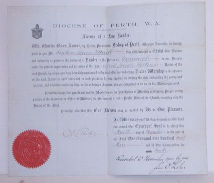 License granted by Charles Owen Leaver, Bishop of Perth to Reuben Edwin Morrell to perform the duties of Lay Reader in the parish of Greenough. Dated 4/11/1903