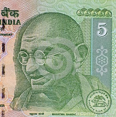 Mahatma Gandhi on 5 rupees banknote from India.