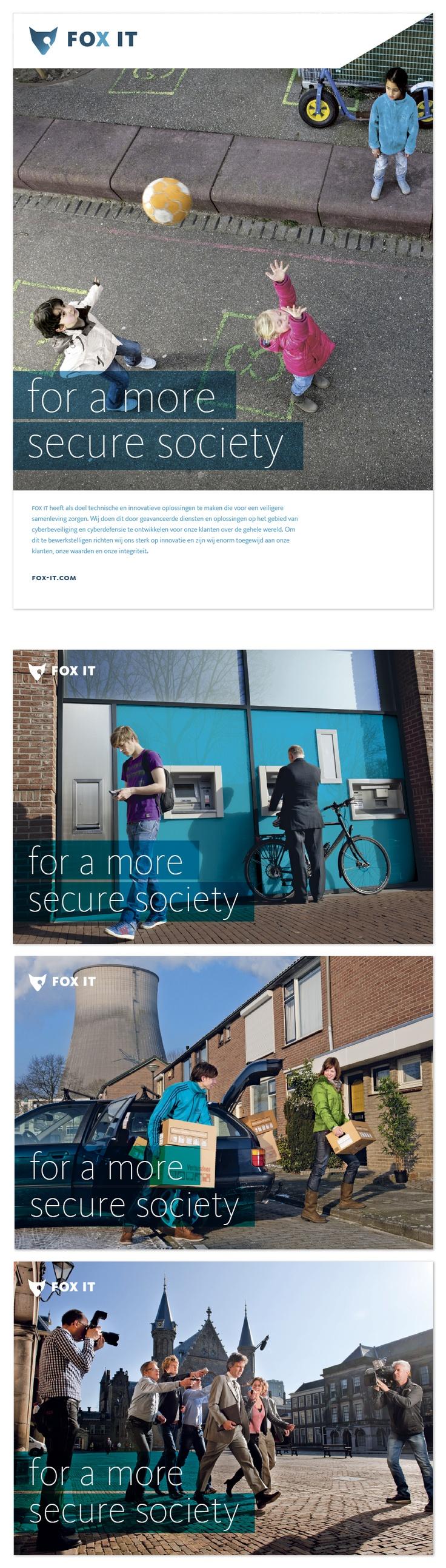 Concept | Positionering | Grafisch Ontwerp |  Fox-IT - communicatieve insteek.  Een nieuwe manier van communiceren verlangt  meer dan alleen een huisstijl.  In de fotografie is het werkveld van Fox-IT in beeld  gebracht. Het werkveld is met de drijfveer, een  veiligere samenleving, gecombineerd waardoor  de lading van het beeld verandert.  Deze foto's worden gebruikt voor corporate uitingen  zoals corporate advertentie, beursmateriaal, website  en brochure.