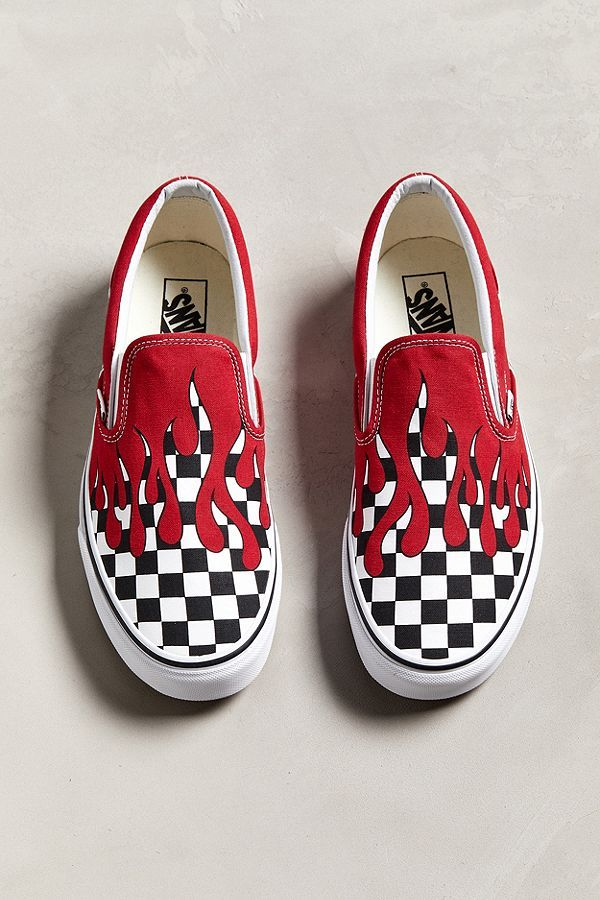 ac2affc2e86273 Slide View  5  Vans Slip-On Checkerboard Flame Sneaker