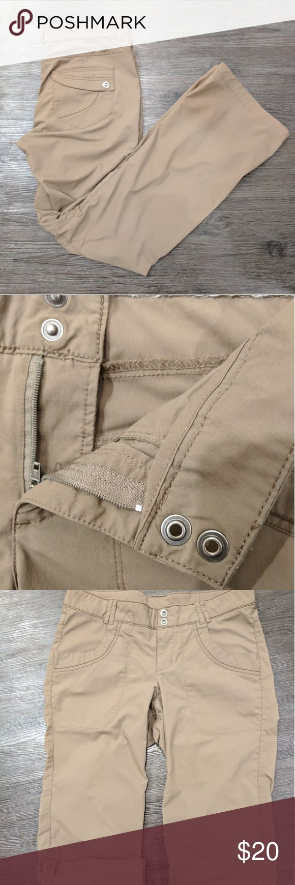 REI Lightweight Outdoor Pants (4) **darker than pictures** light brown. Lightweight hiking pants from REI. Very small hole on front right pocket, included in pictures! Only damage. Pants can shorten to knew length with snaps.   REI size guide: https://www.rei.com/shared/help/wosize.html REI Pants Boot Cut & Flare