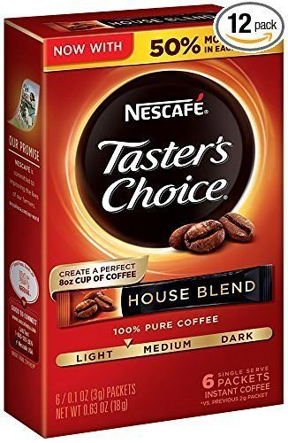Amazon has Nescafe Taster's Choice Instant Coffee House Blend 6 Count (Pack of 12) for $9 (Or $7.80 W/ 5 Subs... #LavaHot http://www.lavahotdeals.com/us/cheap/amazon-nescafe-tasters-choice-instant-coffee-house-blend/139049?utm_source=pinterest&utm_medium=rss&utm_campaign=at_lavahotdealsus